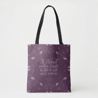 Bolsa Tote Citações florais roxas do amor do livro de Jane