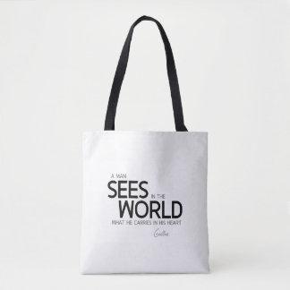 Bolsa Tote CITAÇÕES: Goethe: O homem vê no mundo