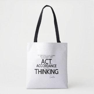 Bolsa Tote CITAÇÕES: Goethe: Para actuar é dura