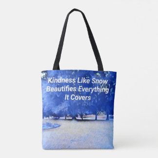 Bolsa Tote Citações inspiradas brancas azuis da bondade do