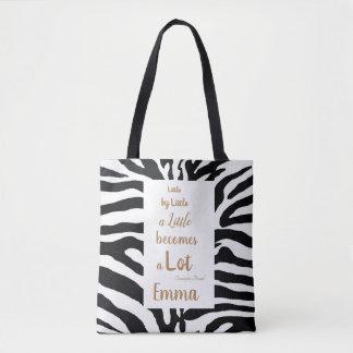 Bolsa Tote Citações inspiradas Customisable preto e branco