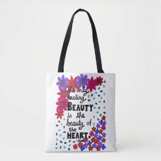 Bolsa Tote Citações inspiradas florais lunáticas bonitos da