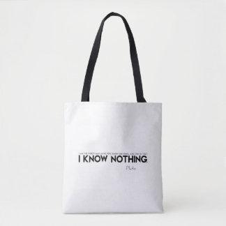 Bolsa Tote CITAÇÕES: Plato: Eu não sei nada