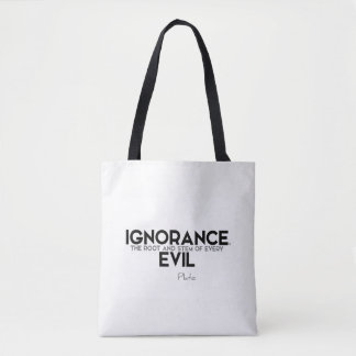 Bolsa Tote CITAÇÕES: Plato: Ignorância, mau