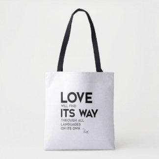 Bolsa Tote CITAÇÕES: Rumi: O amor encontra sua maneira