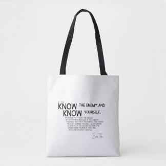 Bolsa Tote CITAÇÕES: Sun Tzu: Saiba o inimigo e você mesmo