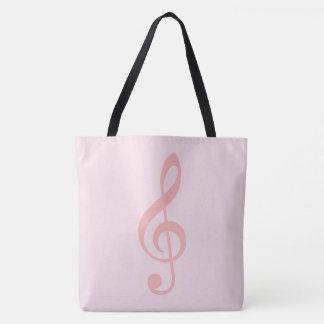 Bolsa Tote clef de triplo cor-de-rosa em muito rosa pálido