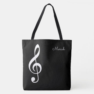 Bolsa Tote clef de triplo da música moderna no preto