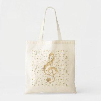 Bolsa Tote clef de triplo dourado da música
