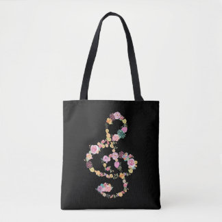 Bolsa Tote clef de triplo floral romântico da música no preto