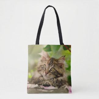 Bolsa Tote Cliente bonito da foto do gatinho do gato de racum