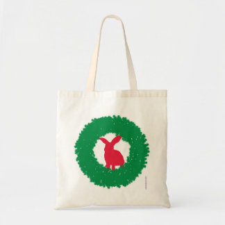 Bolsa Tote Coelho de coelho do Natal em uma grinalda