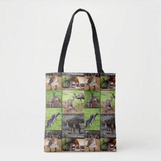 Bolsa Tote Colagem da foto do canguru, saco de compra