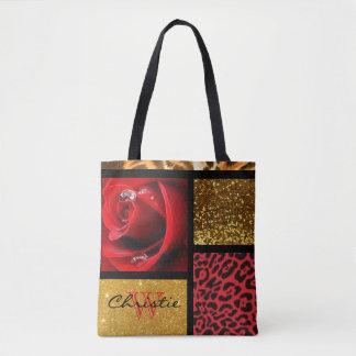 Bolsa Tote Colagem do leopardo do ouro do brilho da rosa