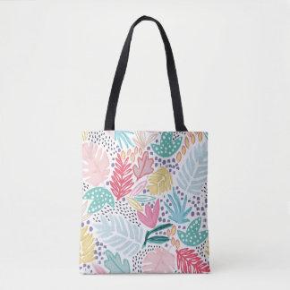 Bolsa Tote Colagem tropical colorida sacola modelada