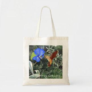 Bolsa Tote Colibri e hibiscus azul com plantas tropicais