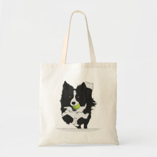 Bolsa Tote Collie preto e branco do flyball