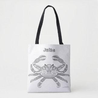 Bolsa Tote Colora-me ilustração náutica crustácea da arte do