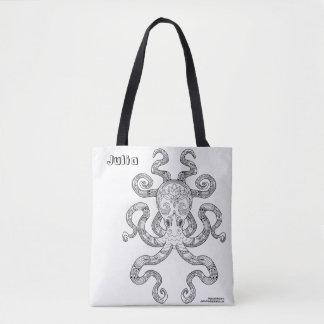 Bolsa Tote Colora-me ilustração náutica de Kraken da arte do