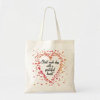 Bolsa Tote Comece cada citações inspiradas do coração grato