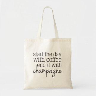 Bolsa Tote Comece com a extremidade do café com sacola de