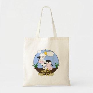 Bolsa Tote Comida dos amigos não - vaca bonito, porco e