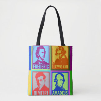 Bolsa Tote Compositores coloridos do pop art
