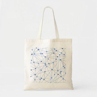 Bolsa Tote Conexão de rede azul no fundo branco