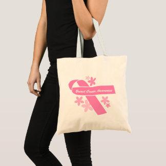 Bolsa Tote Consciência cor-de-rosa do cancro da mama da fita
