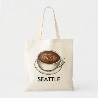 Bolsa Tote Copo de café Latte de Seattle WA Washington