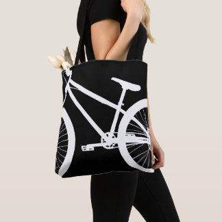 Bolsa Tote Cor branca do costume da silhueta da bicicleta