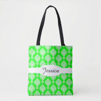 Bolsa Tote Cor damasco do verde limão & do preto