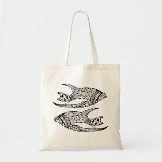 Bolsa Tote Cor de DIY na linha-arte do preto dos peixes