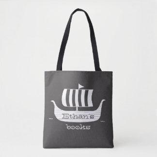 Bolsa Tote Cor do fundo do longboat w/custom do navio de