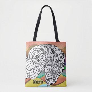 Bolsa Tote Cor impressionante na sacola majestosa do elefante