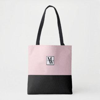 Bolsa Tote Cora chique cor-de-rosa e preto o monograma