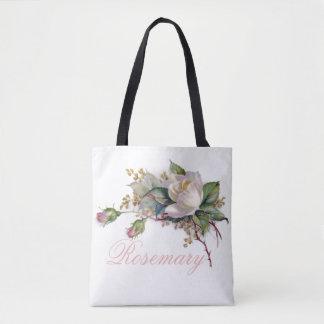 Bolsa Tote Cora nome do monograma dos rosas cor-de-rosa &