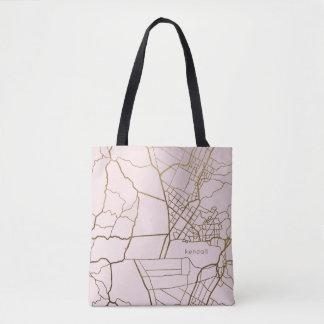 Bolsa Tote Cora o rosa com o mapa do olhar do ouro adiciona o