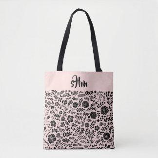 Bolsa Tote Cora o rosa, sacola floral preta do monograma do