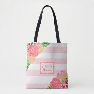 Bolsa Tote Cora o sonho tropical da listra cor-de-rosa