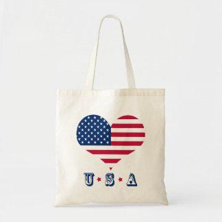 Bolsa Tote Coração americano dos EUA da bandeira de América