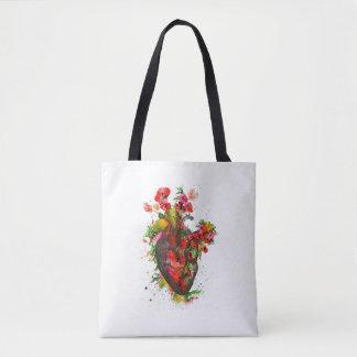 Bolsa Tote Coração anatômico com flores, coração floral