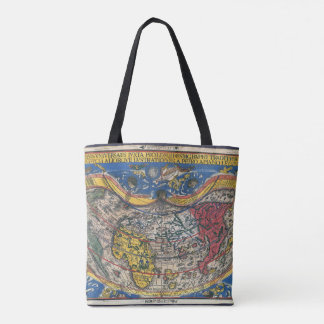 Bolsa Tote Coração antigo mapa do mundo dado forma por Peter
