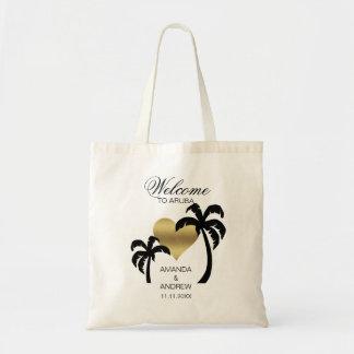 Bolsa Tote Coração BEM-VINDO personalizado das palmeiras do