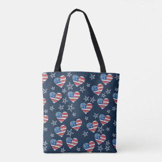 Bolsa Tote Coração da bandeira americana