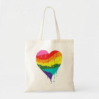 Bolsa Tote Coração do arco-íris