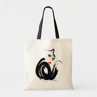 """Bolsa Tote Coração do gato preto """"n"""""""