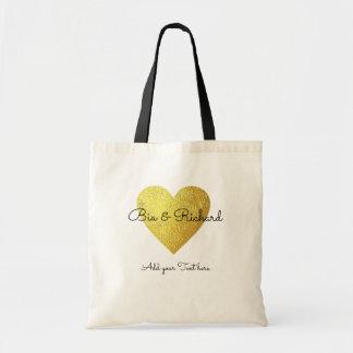 Bolsa Tote coração do ouro do falso do casamento do amor