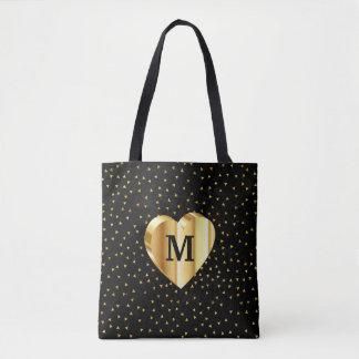 Bolsa Tote Coração do ouro do monograma no preto e no ouro