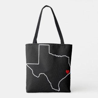 Bolsa Tote Coração do vermelho do esboço de Texas do alivio